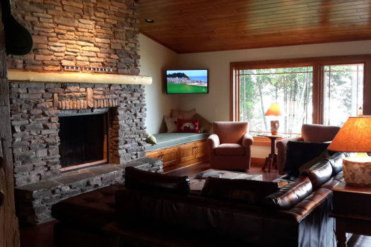 Stone hearth and fireplace with leather sofa and unadorned windows.